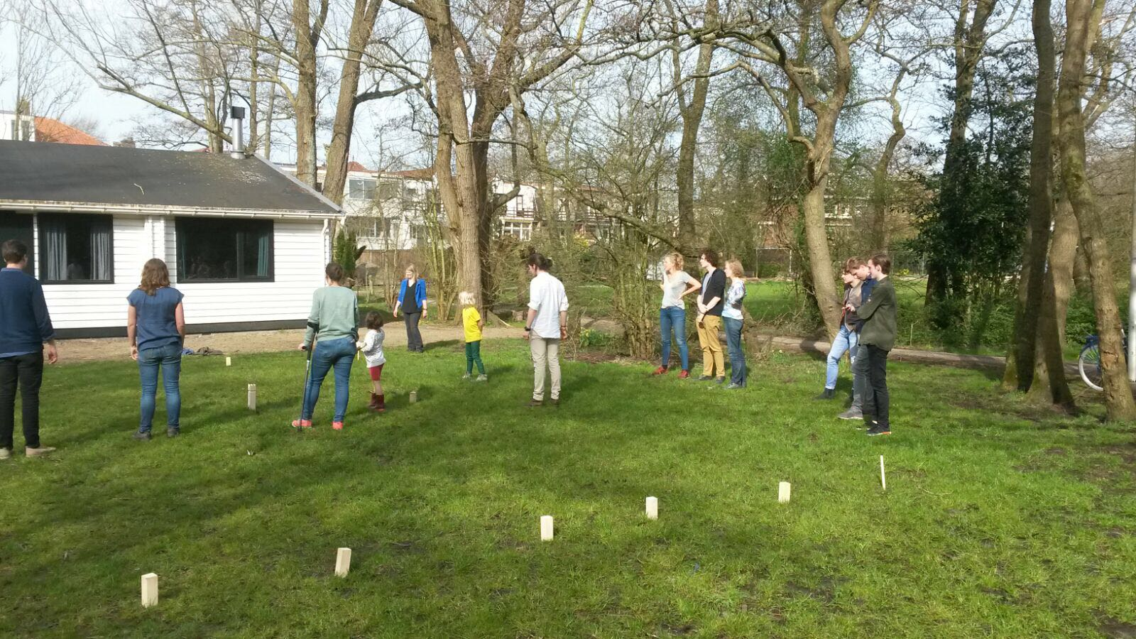 A game of Kubb on the front lawn