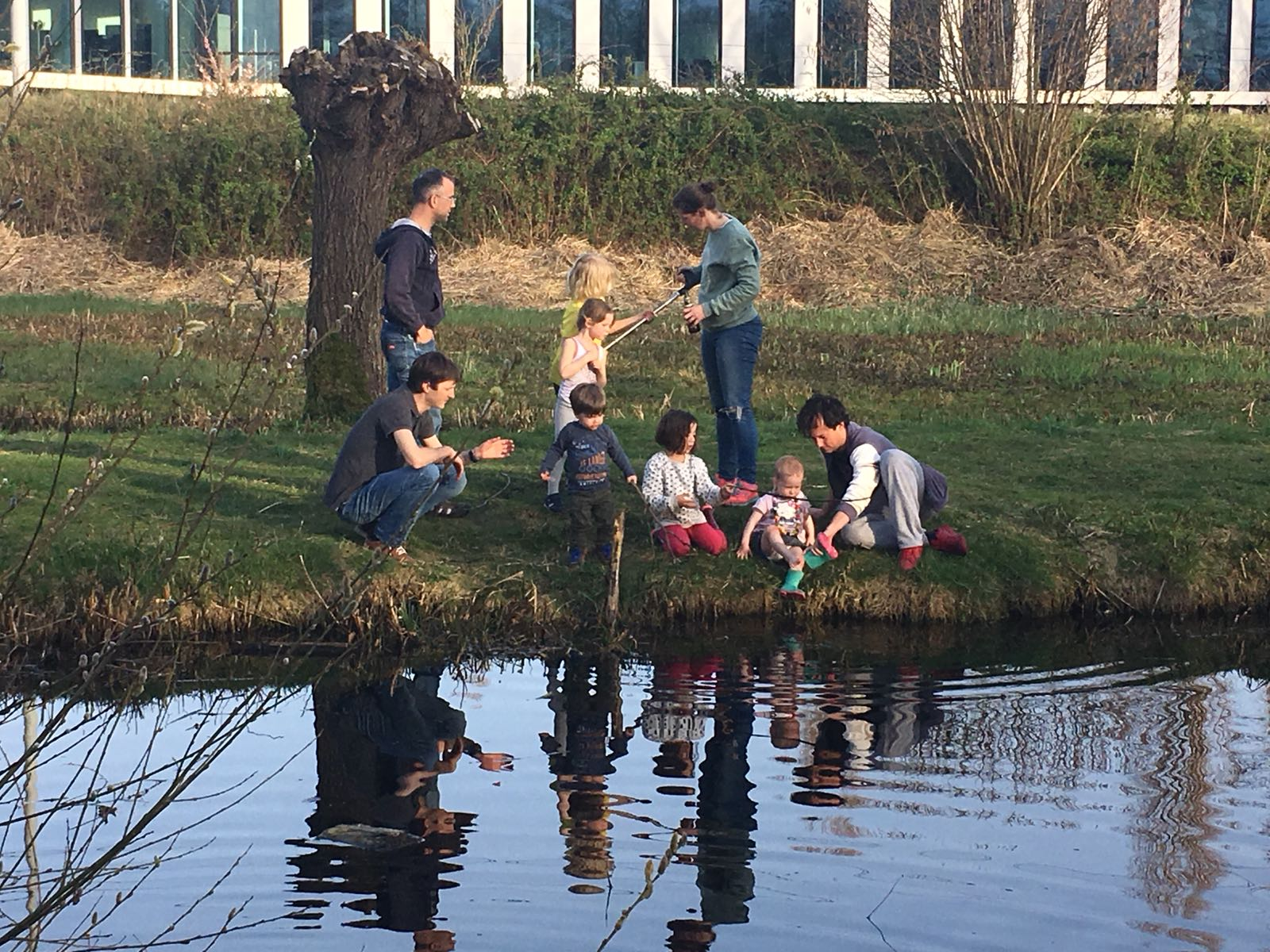Children of alumni played around the pond discovering tadpoles, Herons and Coots.
