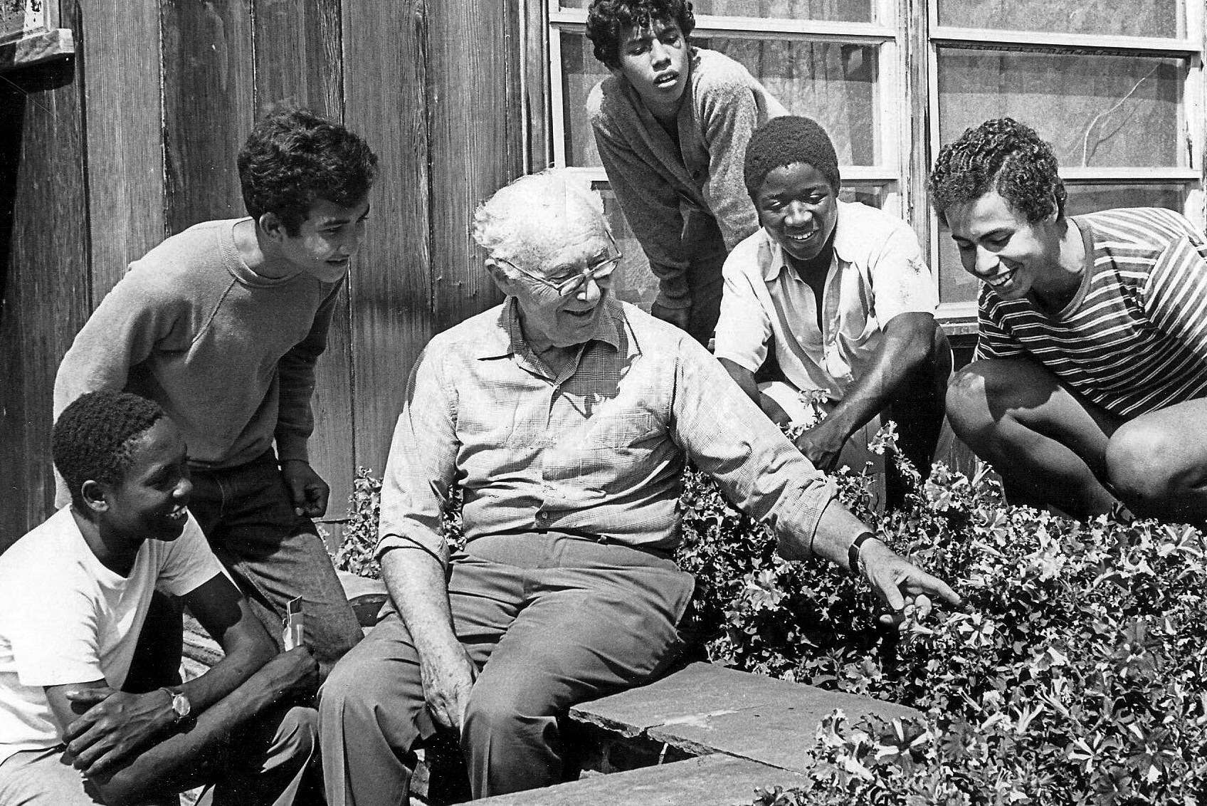 George E. Jonas (Freddie) with campers at Camp Rising Sun.