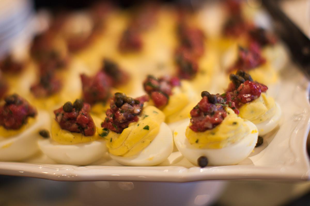 Horseradish deviled egg, kobe beef tartare, crisp capers