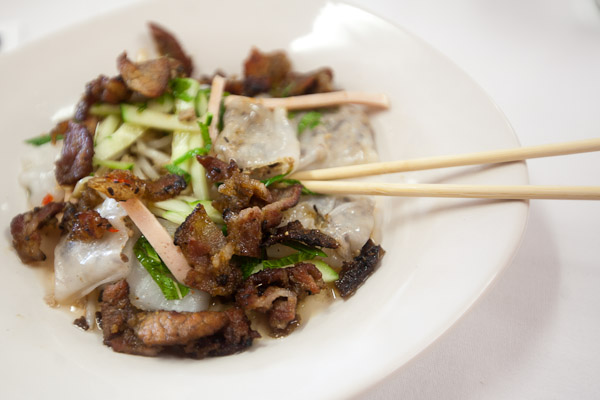 Rolled Steamed Rice Cake made with gourd pork & Chinese mushroom. Served with grilled pork, steamed pork, and house sauce. (Chinese and Vietnamese)