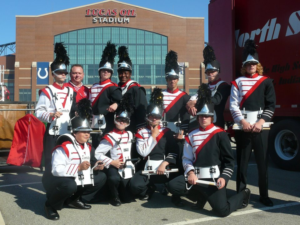 Carl with the Northside drumline at ISSMA State finals, 2011