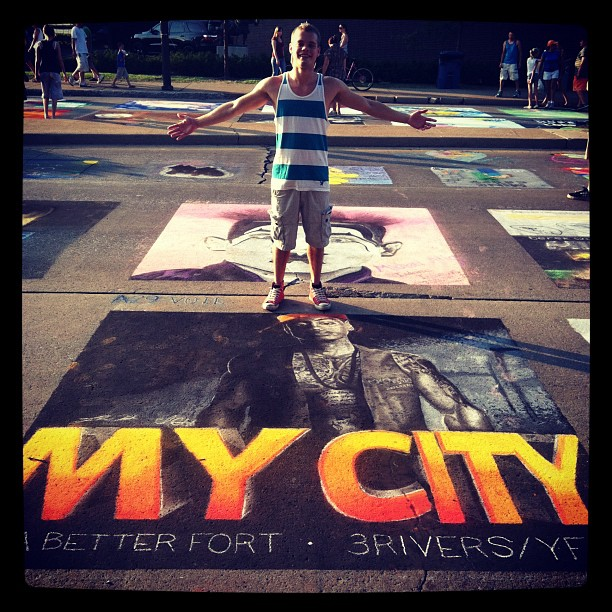 Chalk art displaying pride in the Fort