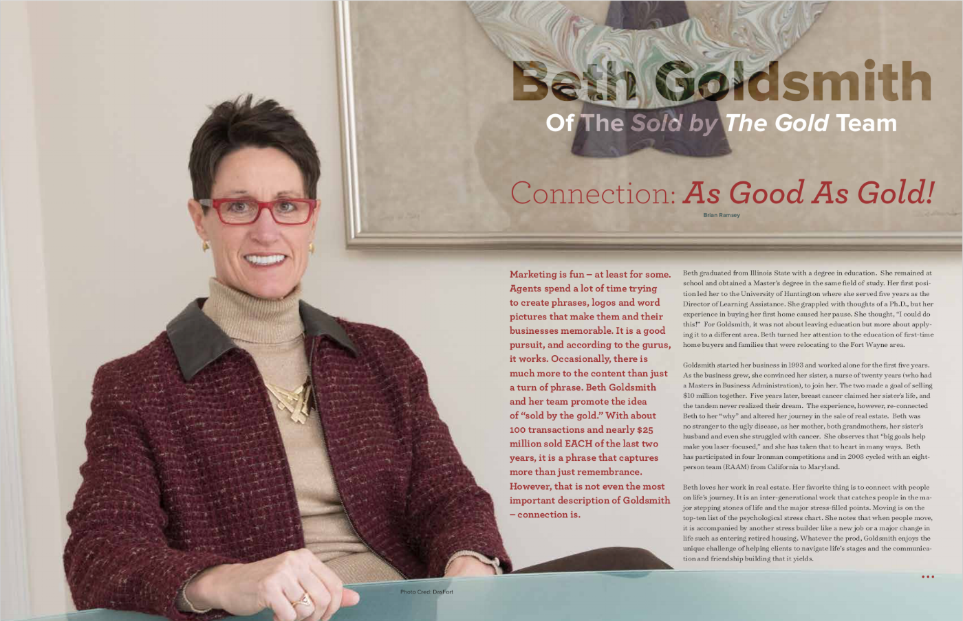 Beth Goldsmith, cover story