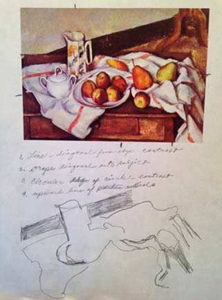 A student studies the work of Cezanne,  Still Life with pitcher and plate of apples.