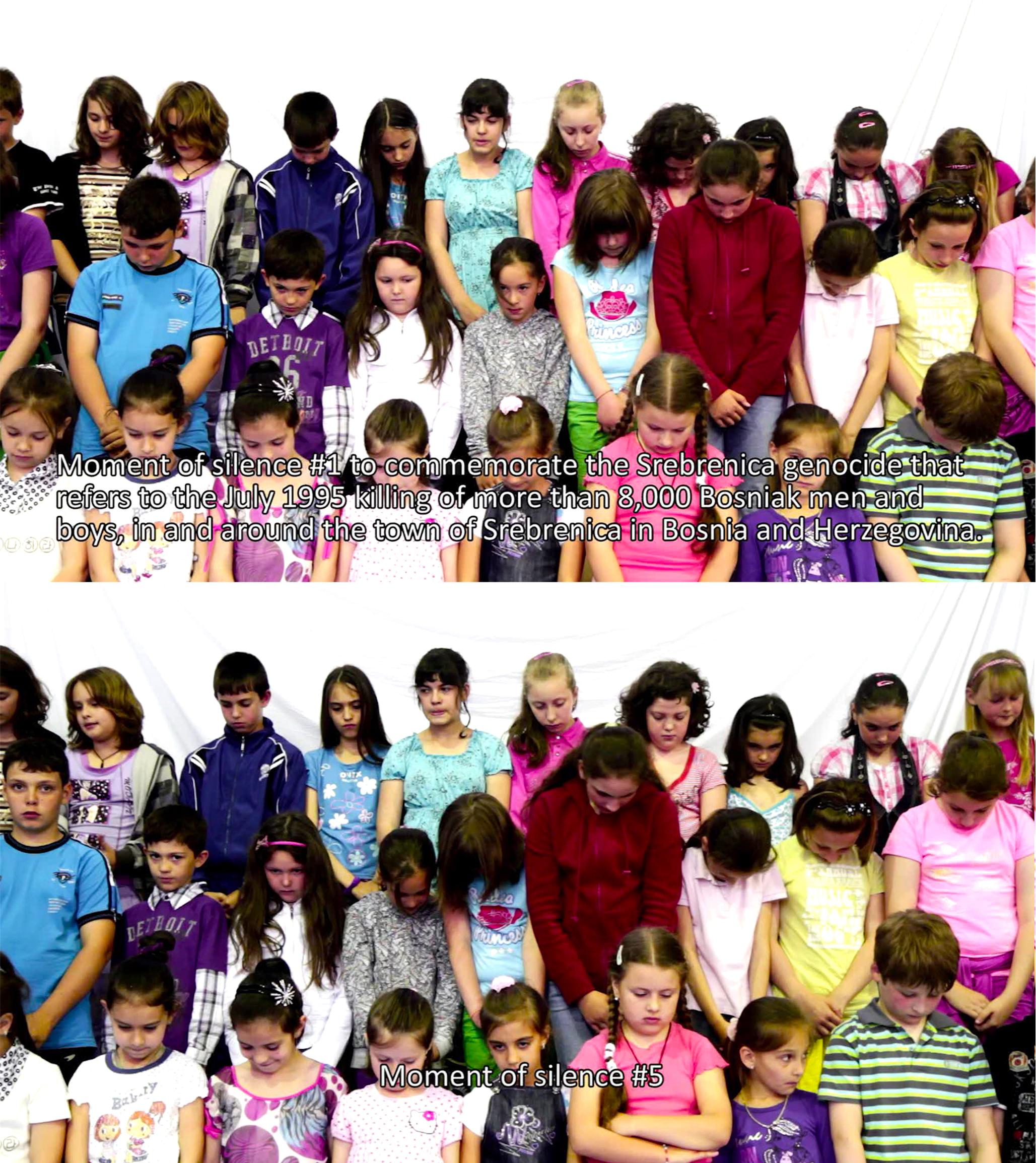 PENDING WORK #3 (MOMENTS OF SILENCE) - Alex MIRUTZIUvideo | 15:38 min | 2011 | Galeria Rudiger Schottle, MunichPending Work #3 opereaza o actiune de memorial (momente de reculegere) instrumentata de agenti (copii) care datorita varstei biologice nu pot activa amintiri legate de evenimentele istorice petrecute cu mult inaintea nasterii lor. Astfel, actiunea se soldeaza prin constientizarea evenimentului carora cei prezenti incearca sa-i faca fata si care ii deruteaza dand nastere unei nelinisti intr-o structura de public 'neasezat', care se intreaba care e rostul lor acolo.