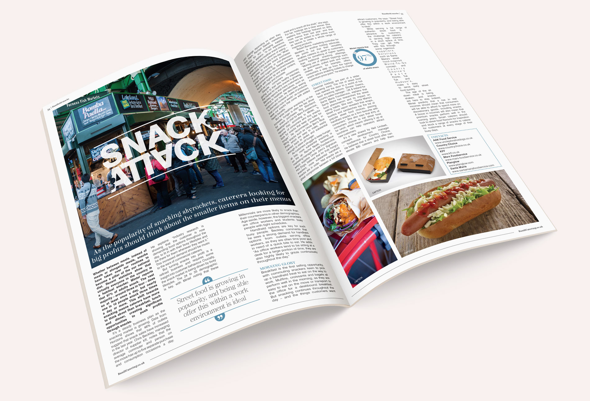Bandicatering B&I catering magazine spread snack attack - design whitstable kent