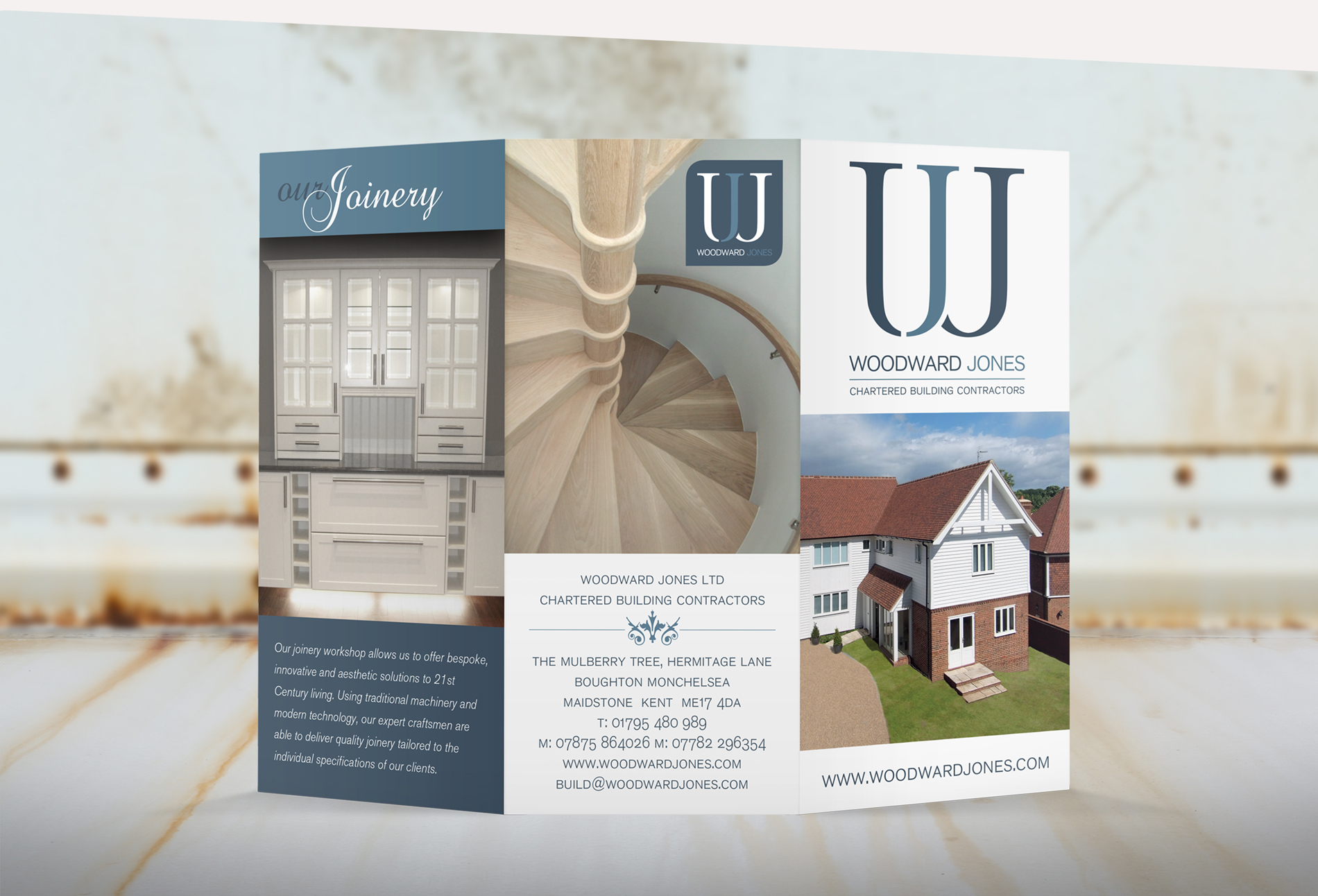 Woodward Jones Tri-fold pamphlet - design whitstable kent