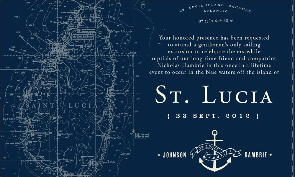 St. Lucia Wedding Party Invite