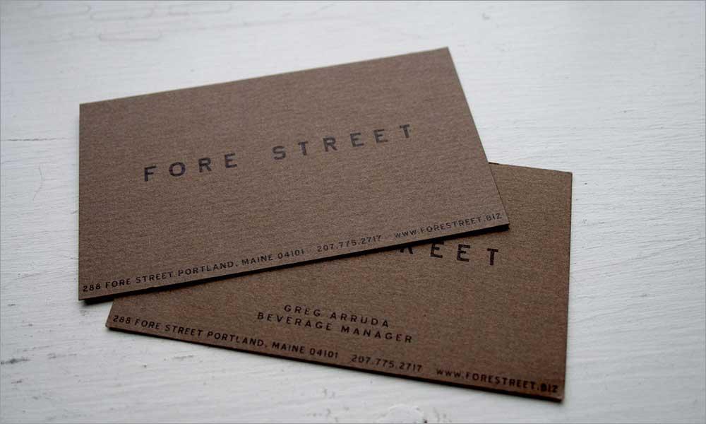 Fore Street Restaurant Print Branding
