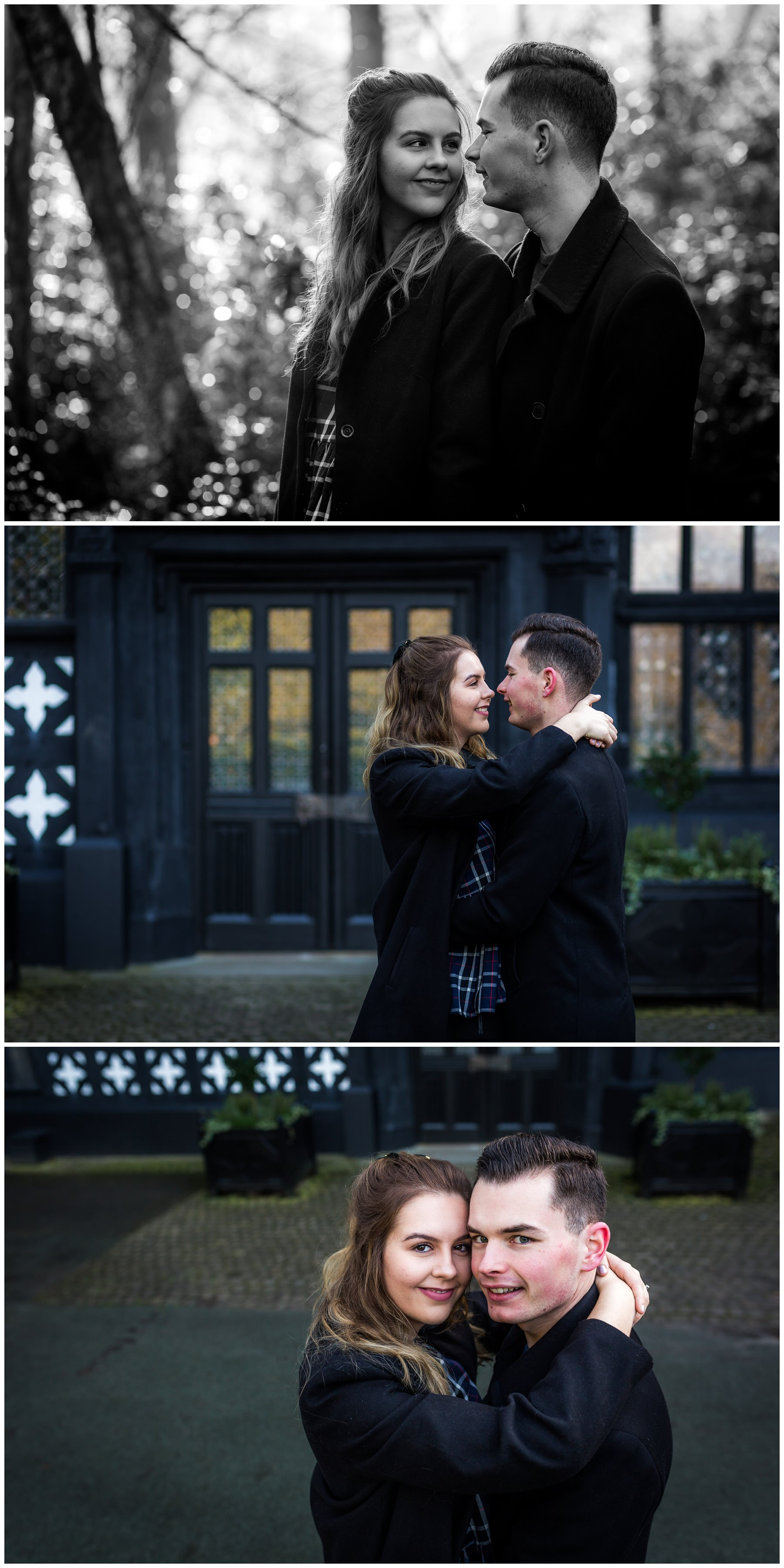 couple in front of bramhall park manor during couples shoot