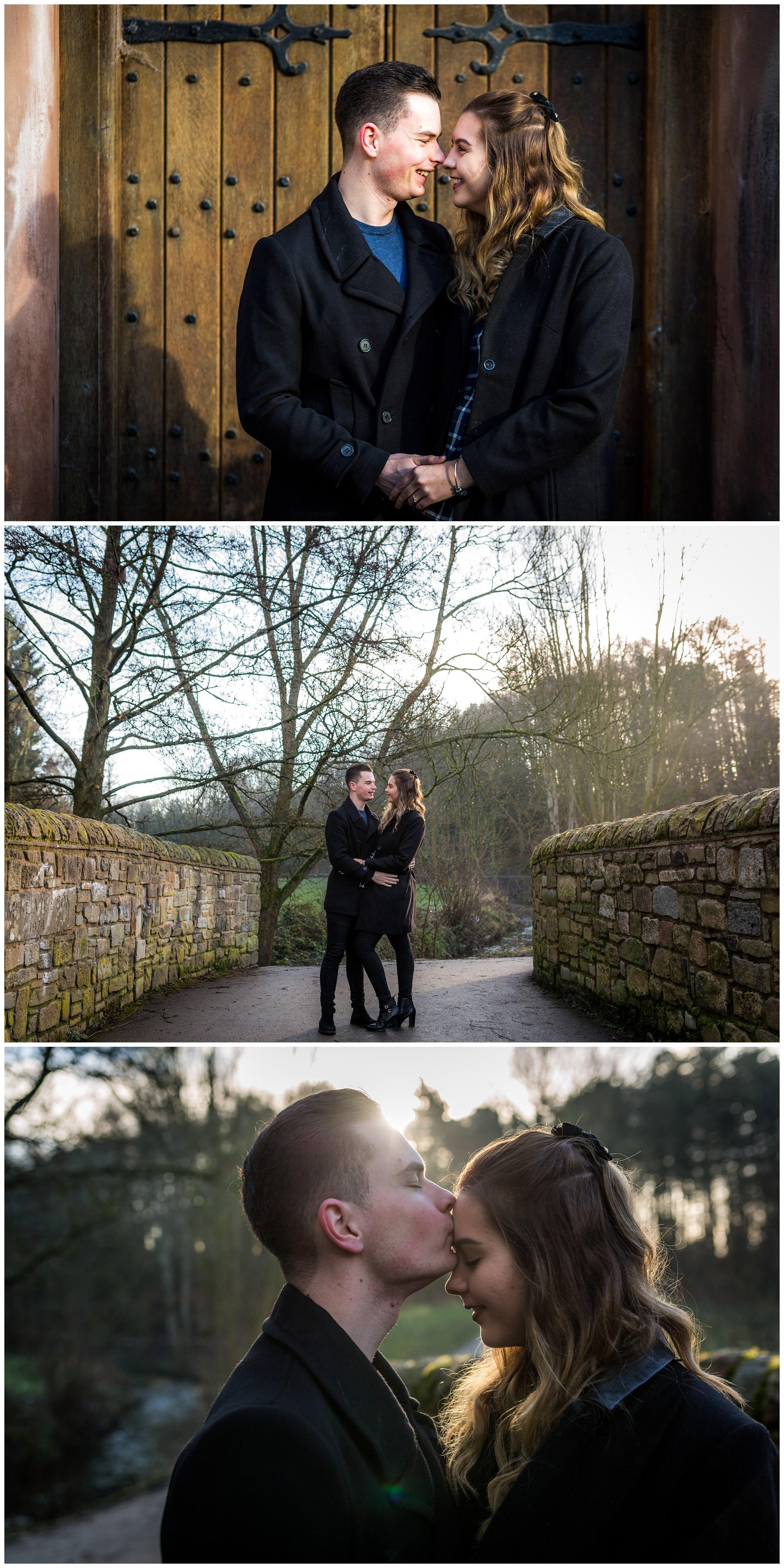 couple having photos taken in the sun in Bramhall Park