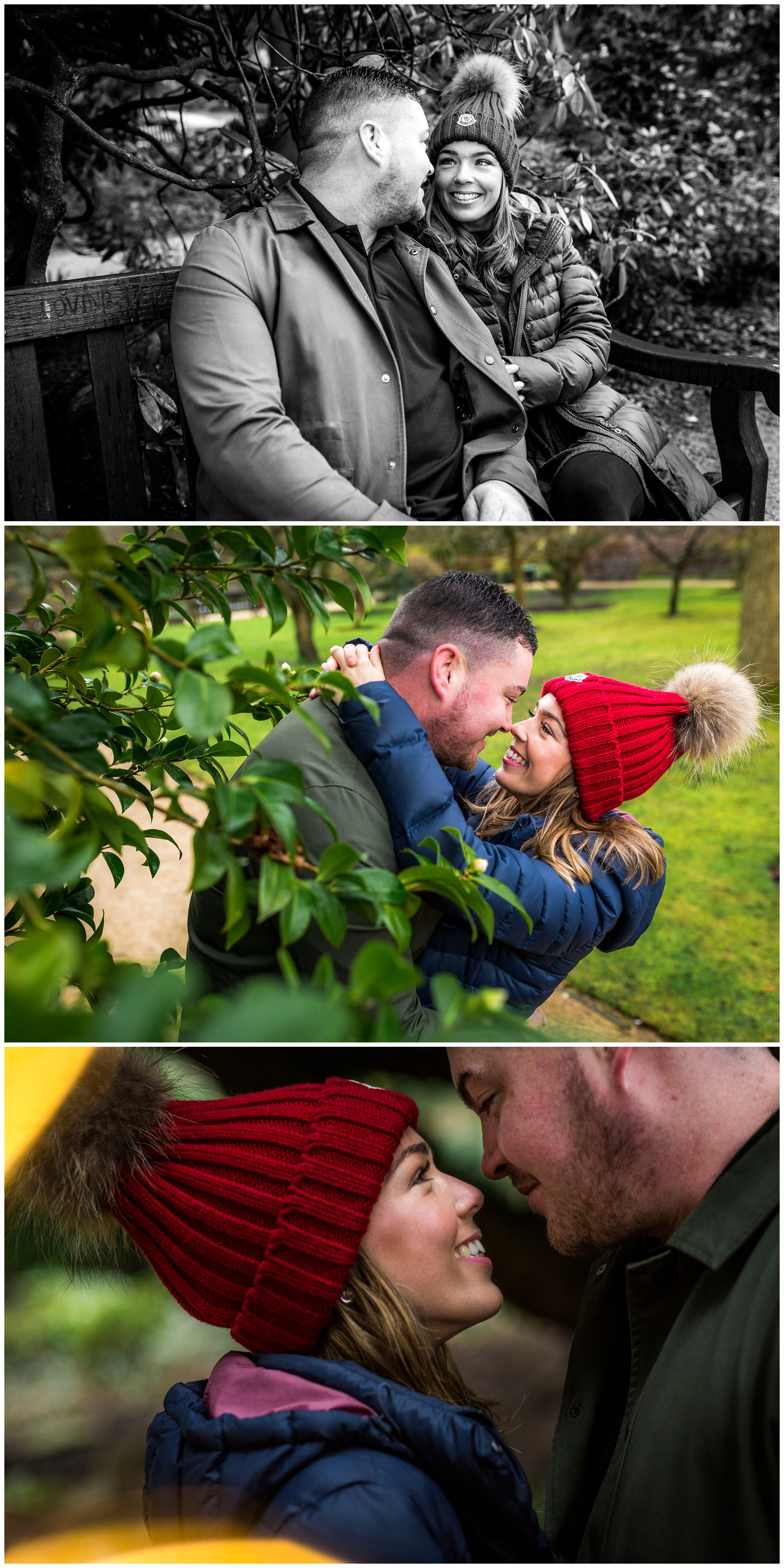couple kissing next to tree