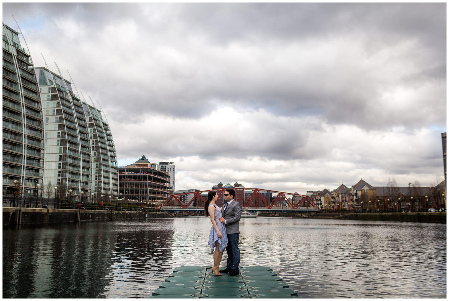 couple stood on floating ledge