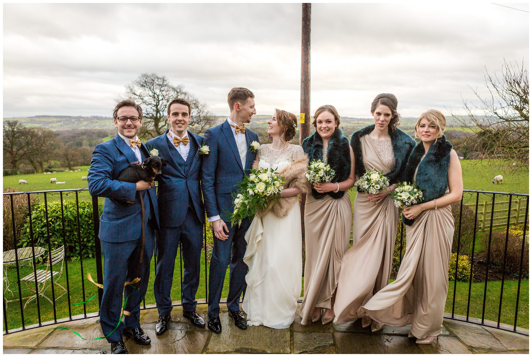 bride, groom, groomsmen and bridesmaids in gardens