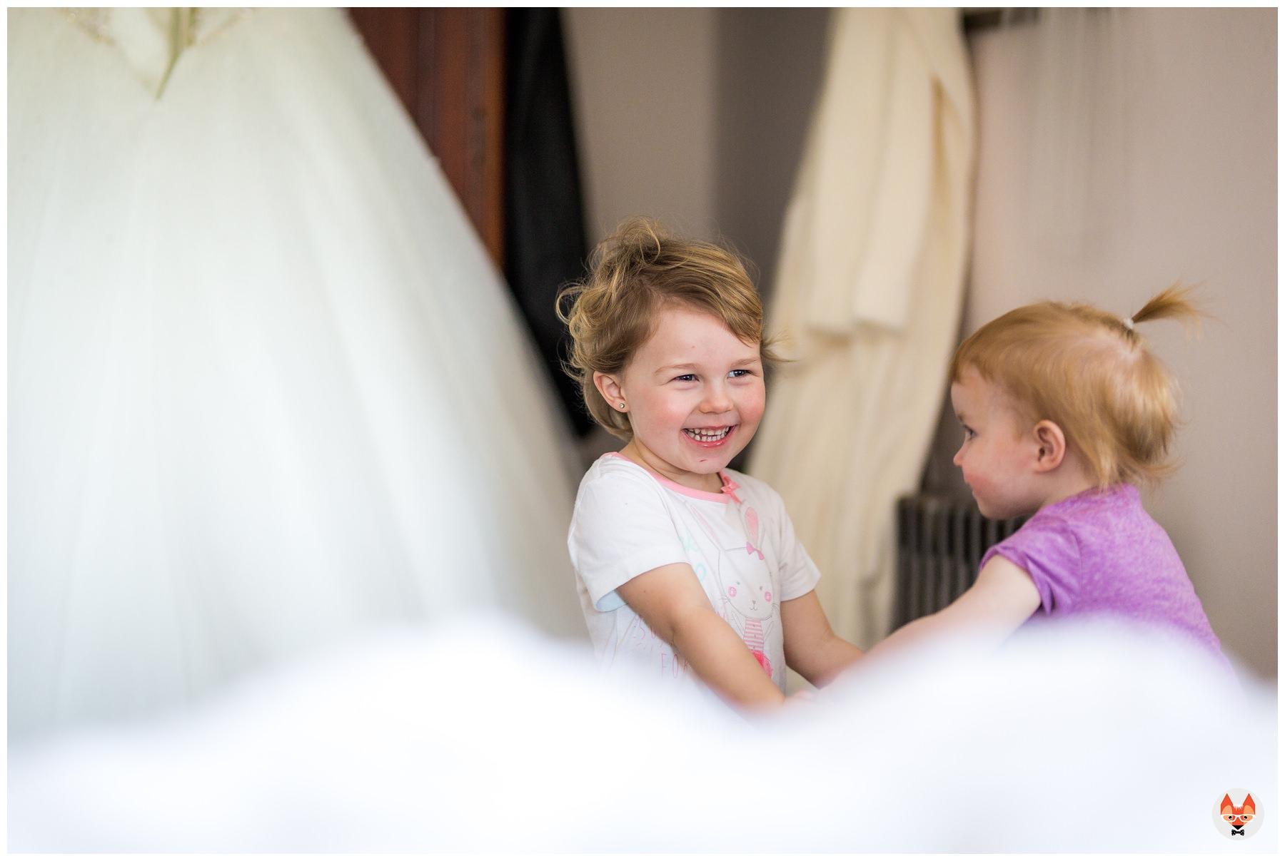 children playing during wedding morning