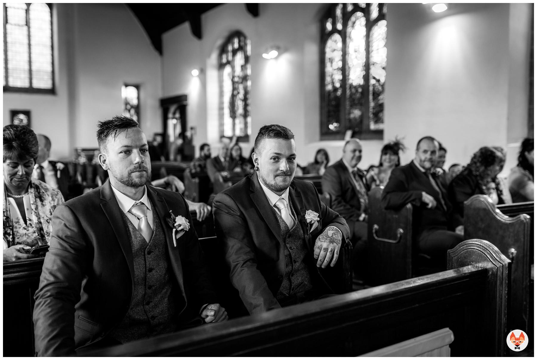groom waiting in the church