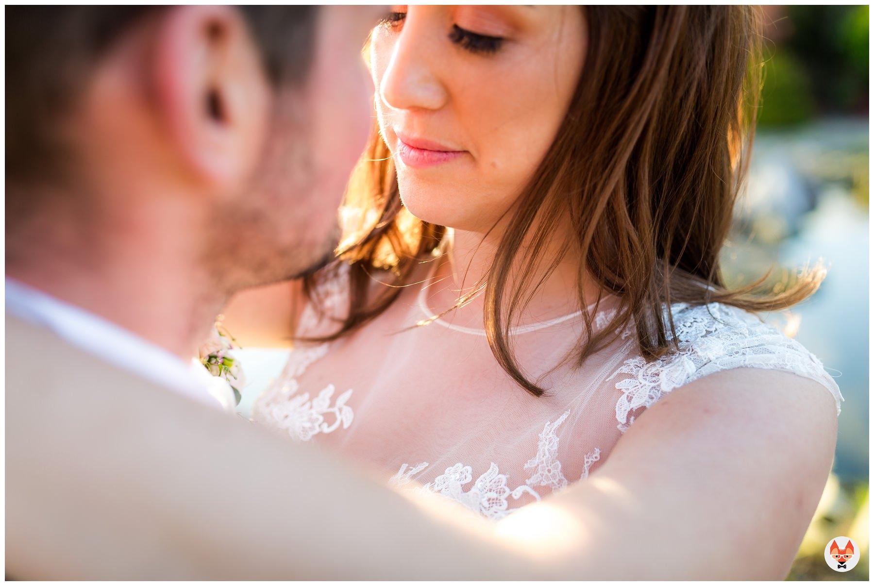 closeup of bride