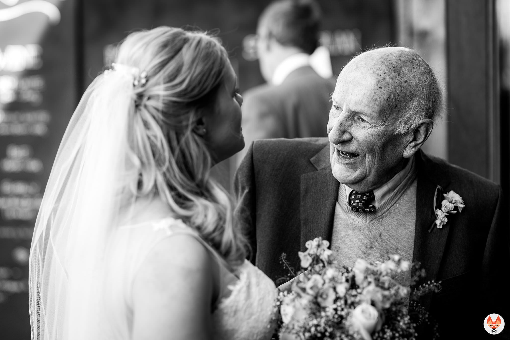 bride talking to grandad