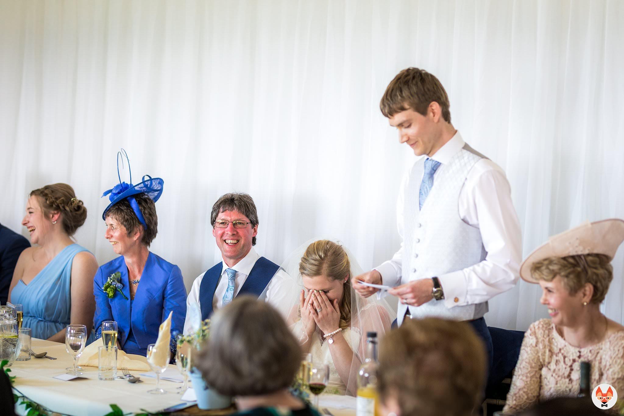 groom giving his wedding speech