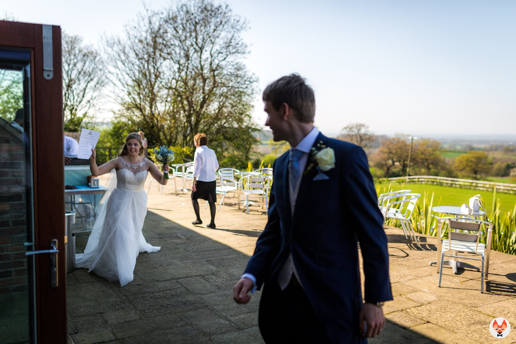 bride running into room