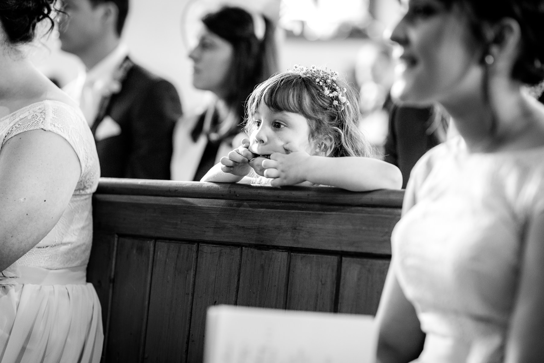 girl pulling face during service