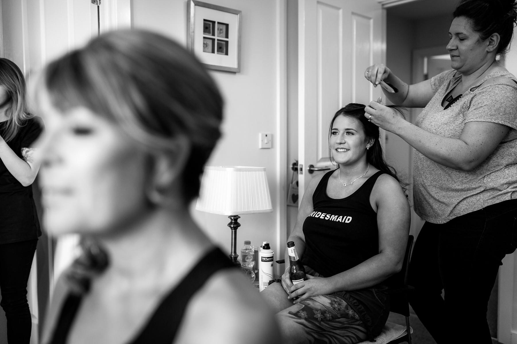 bridesmaid getting ready