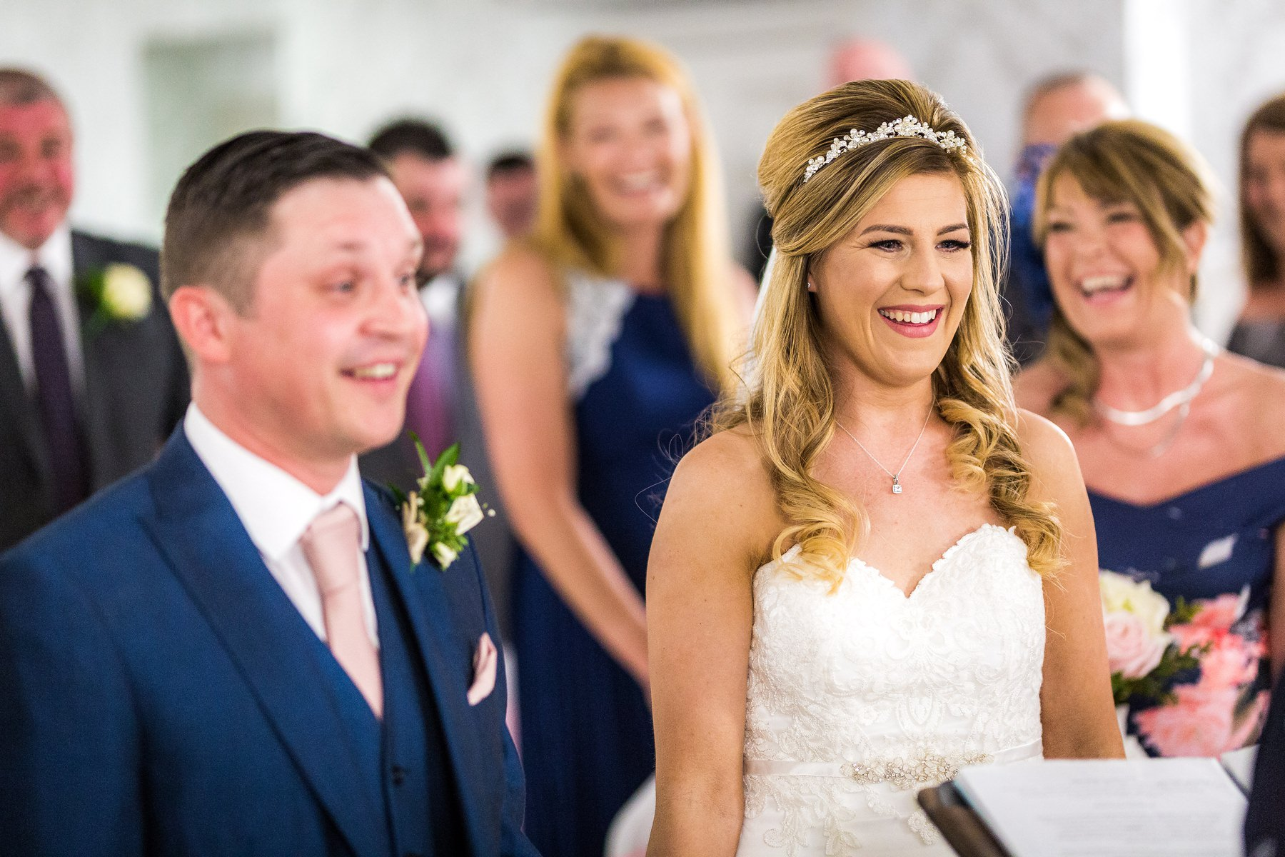 bride laughing during service at brookfield hall