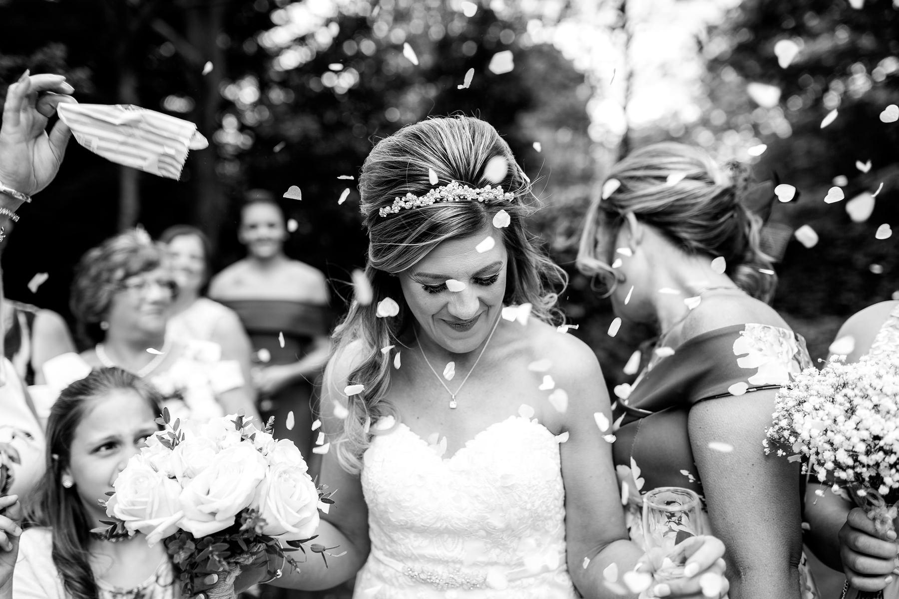 bride with confetti