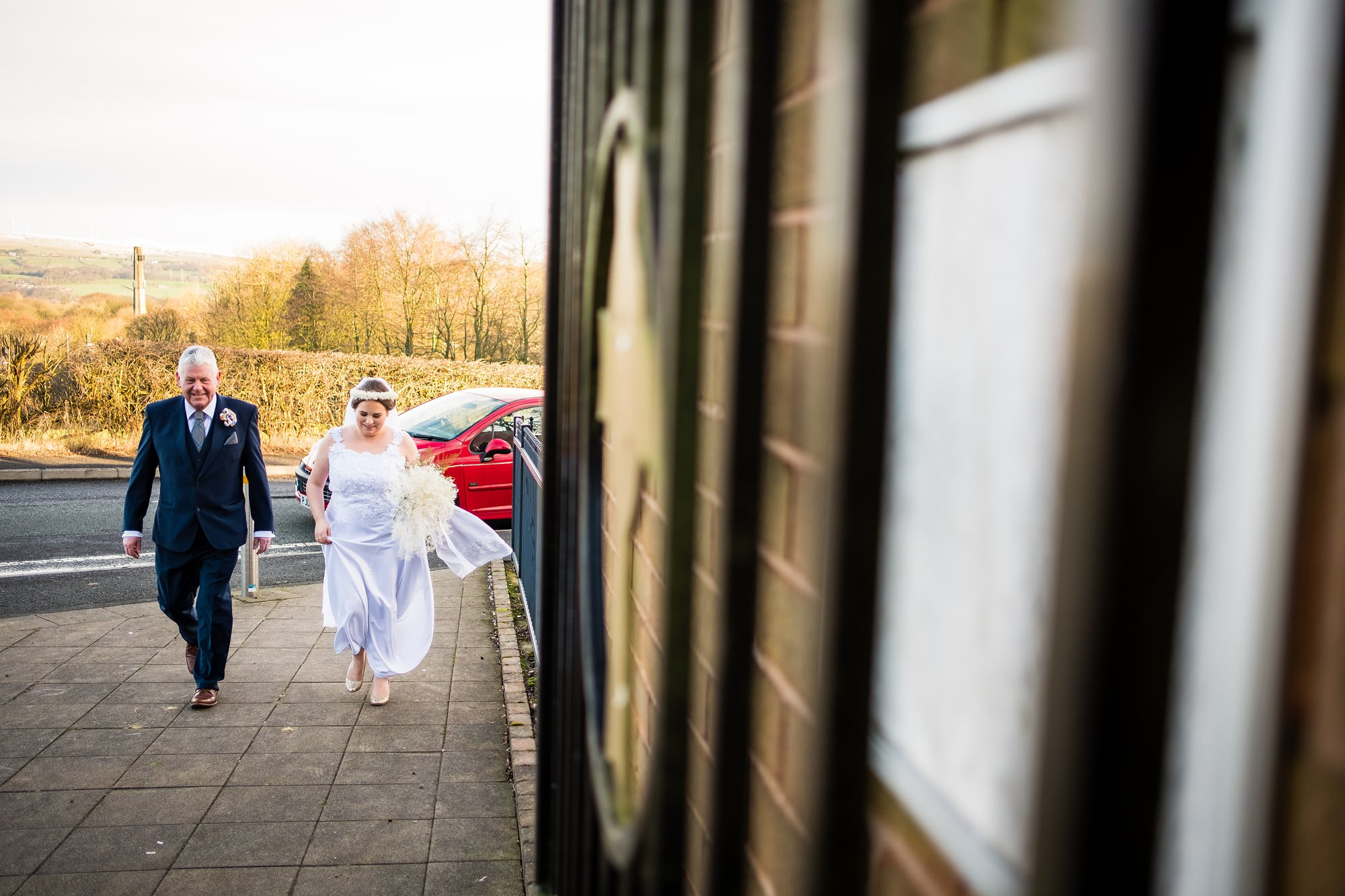 bride arriving to church