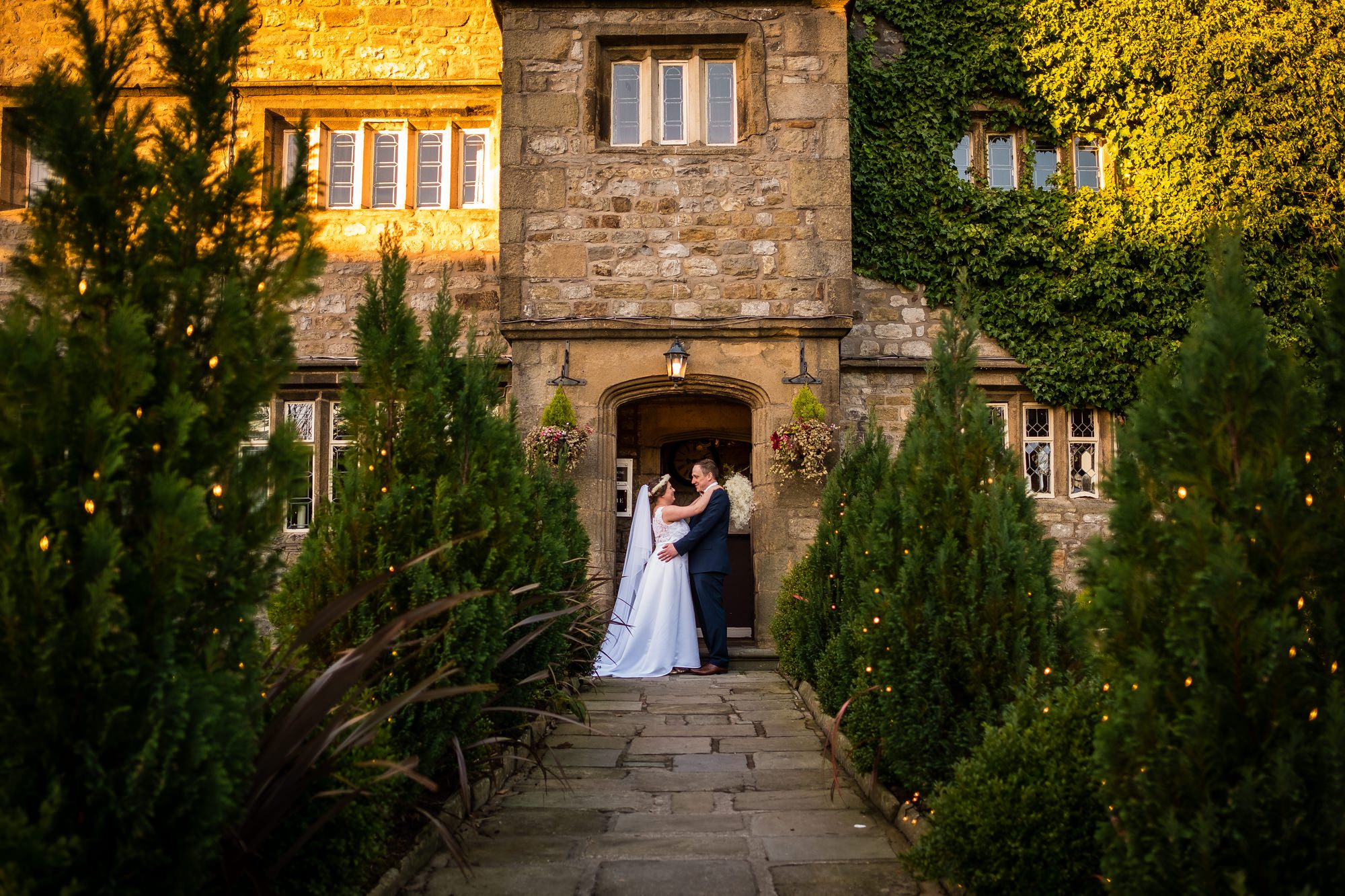 bride and groom portrait at stirk house, lancashire