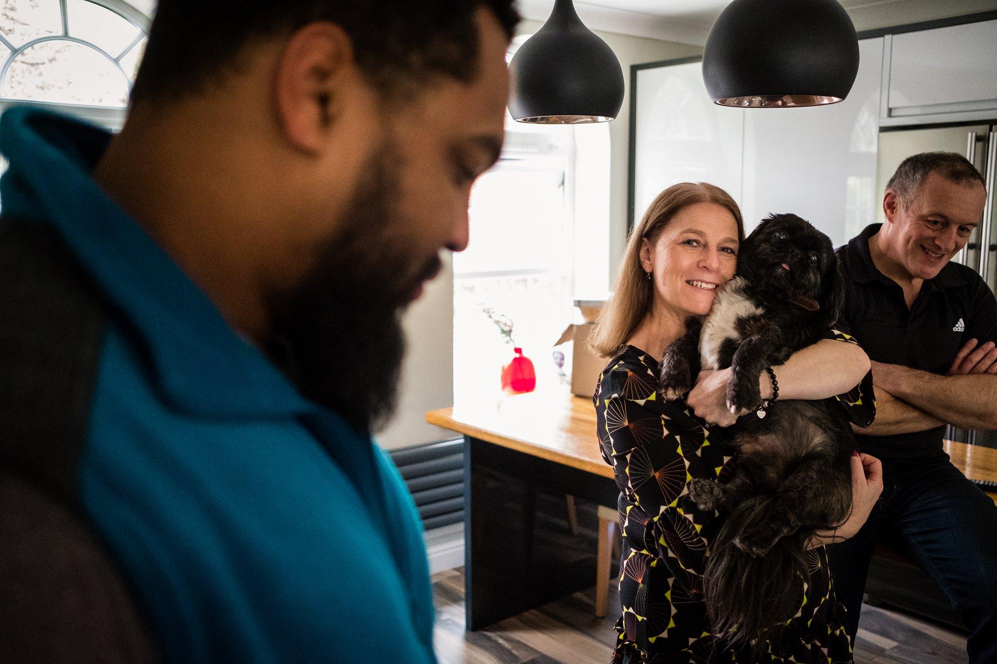 mum holding dog