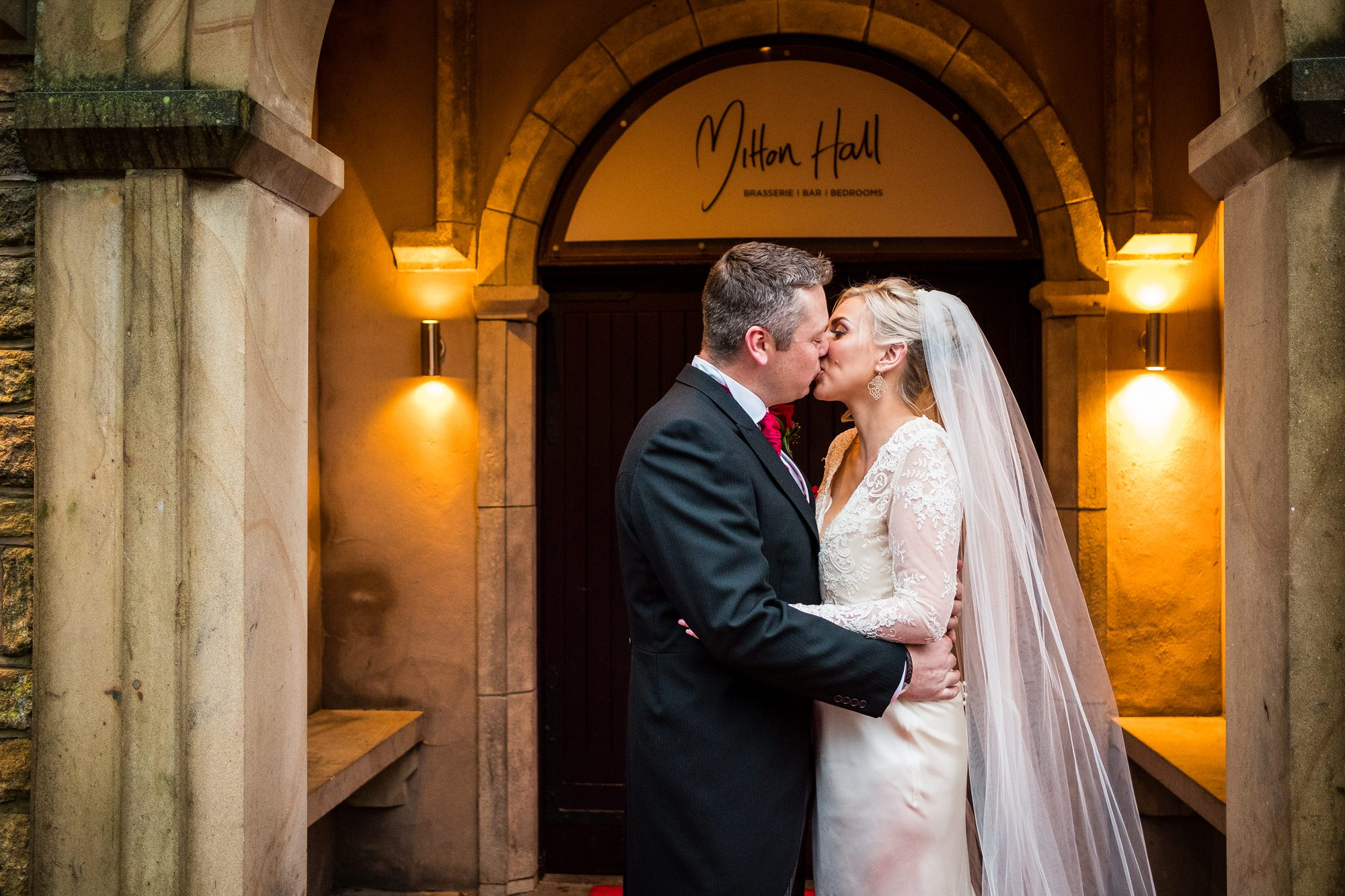 bride and groom portrait at mitton hall, lancashire
