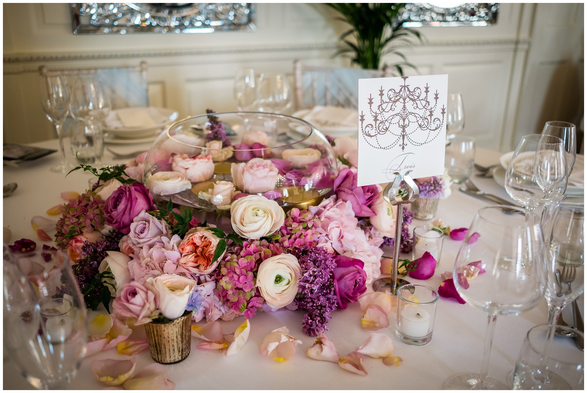 flowers on table at eaves hall