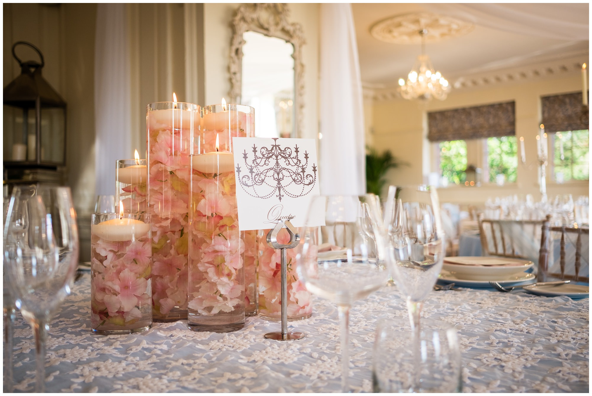 lit candles in reception room