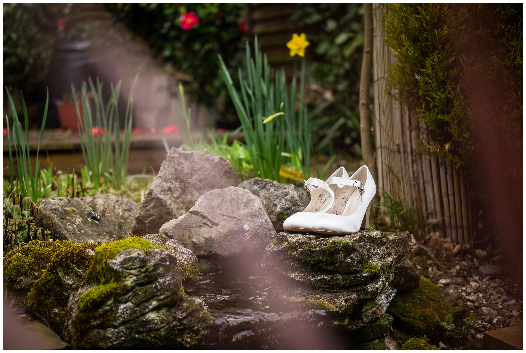 wedding shoes in the garden