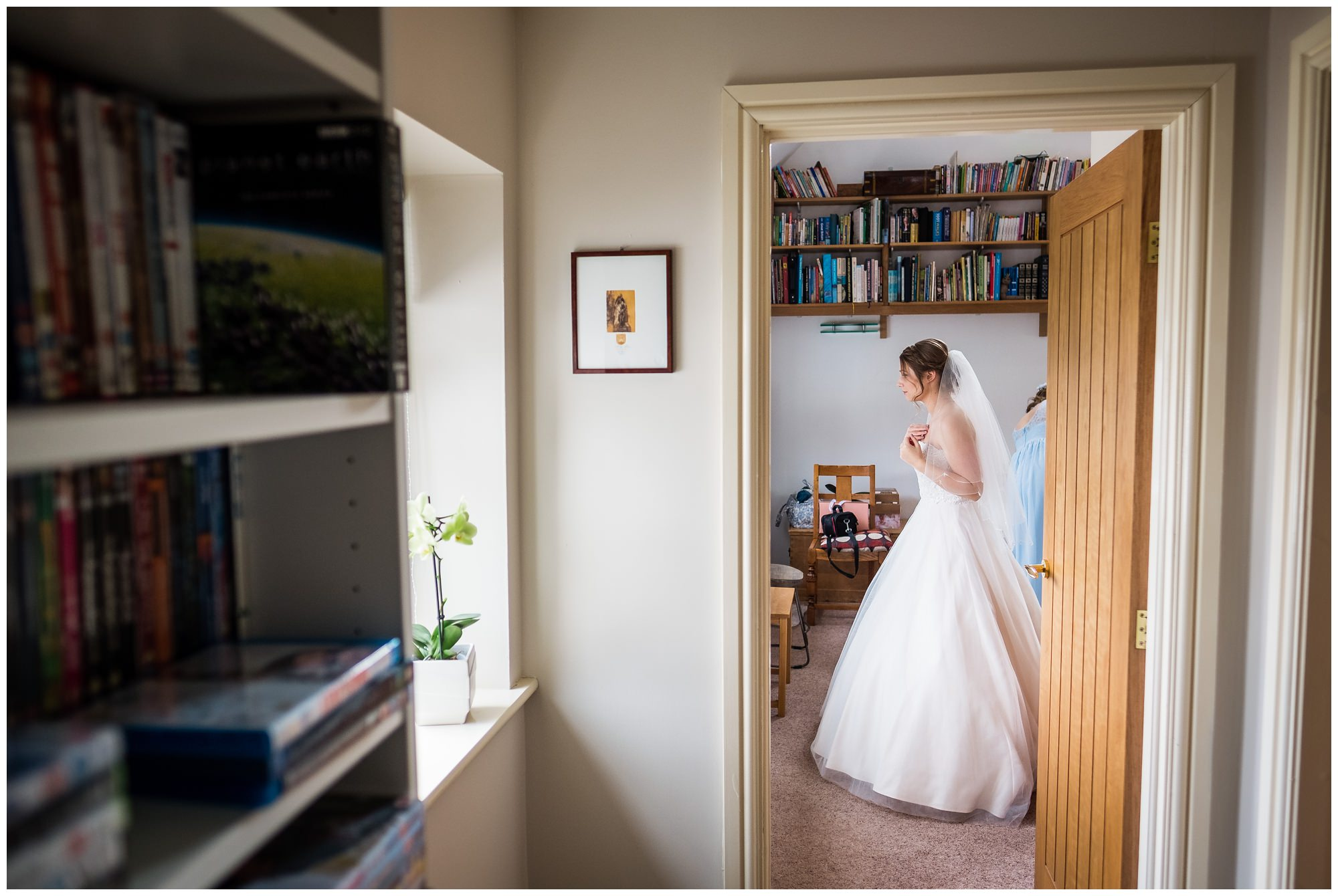 bride looking out her window