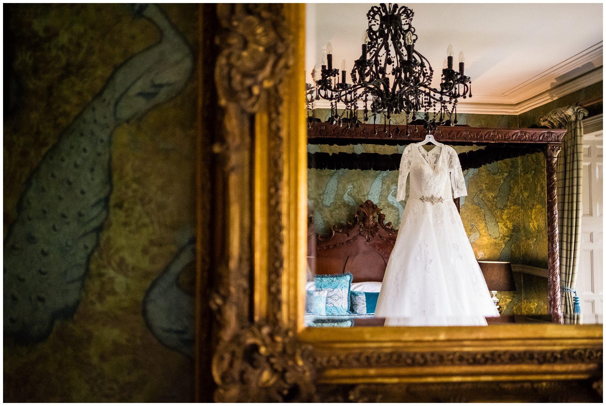 wedding dress hung at mitton hall, lancashire