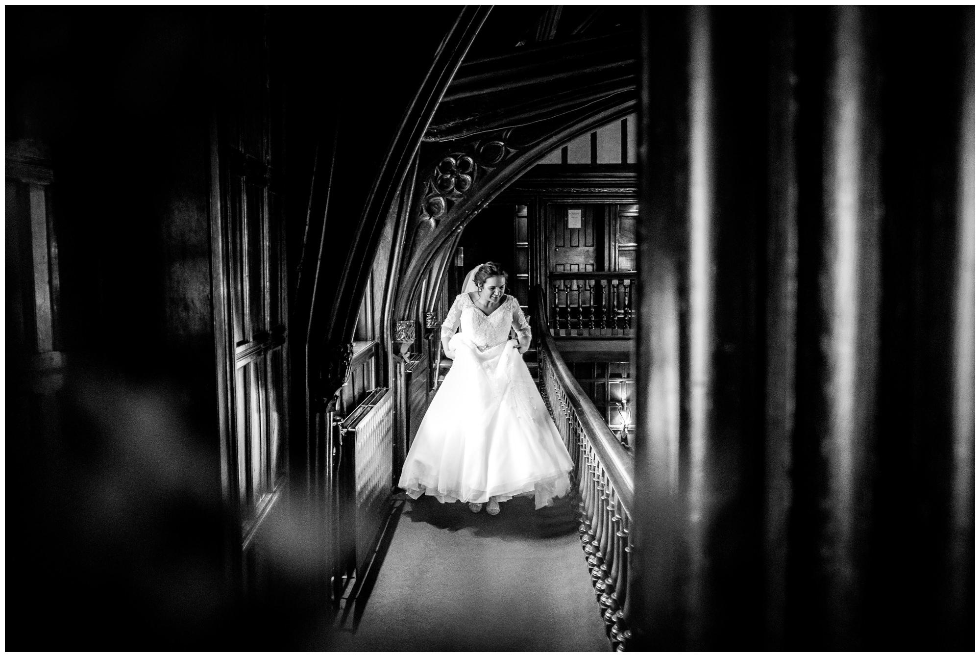 bride walking to service at mitton hall