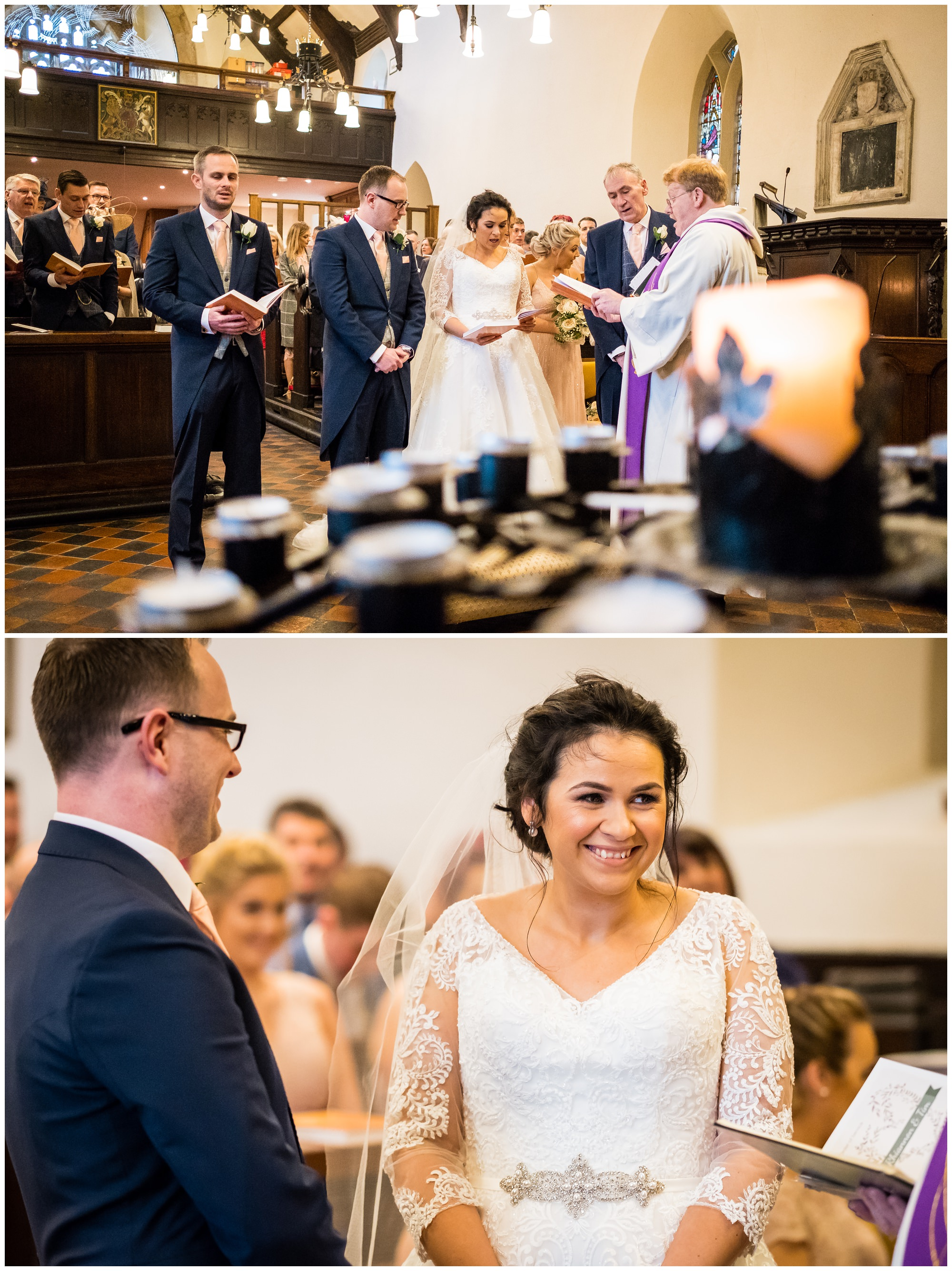 bride smiling during church service