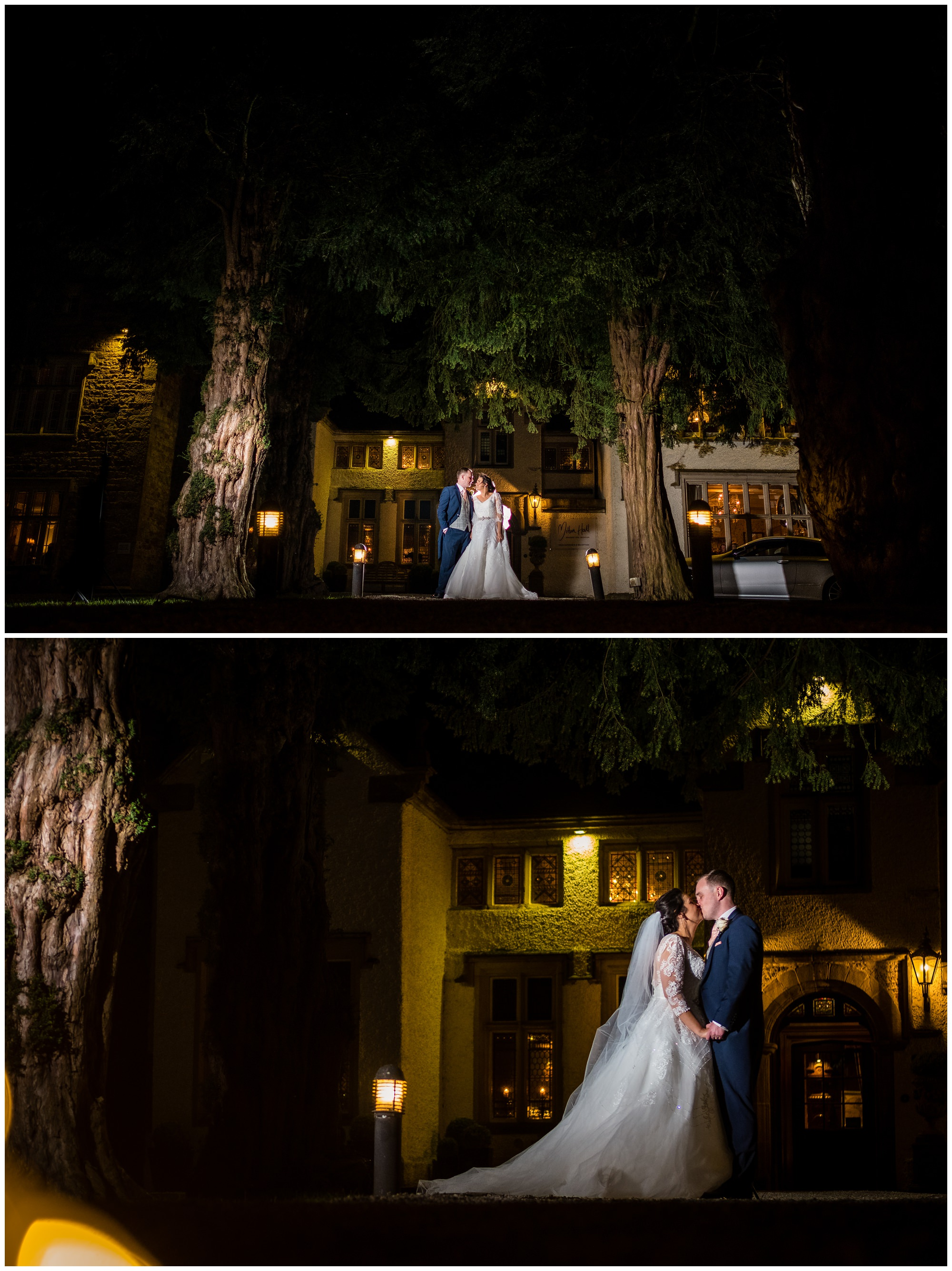 night time portraits outside mitton hall