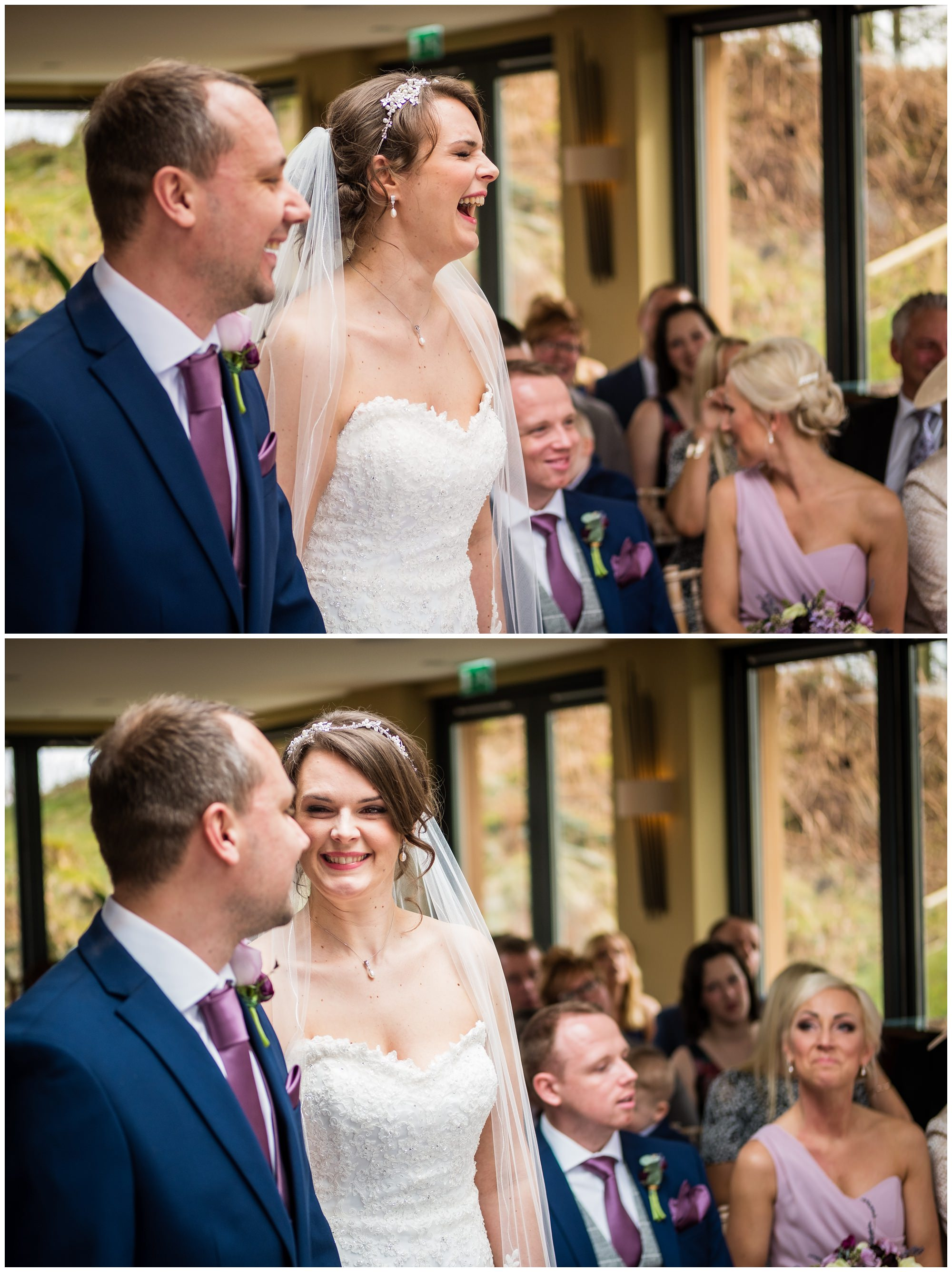 bride laughing during wedding service