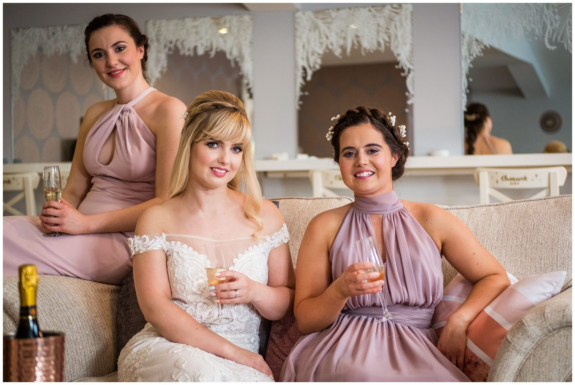 bridal party with drinks