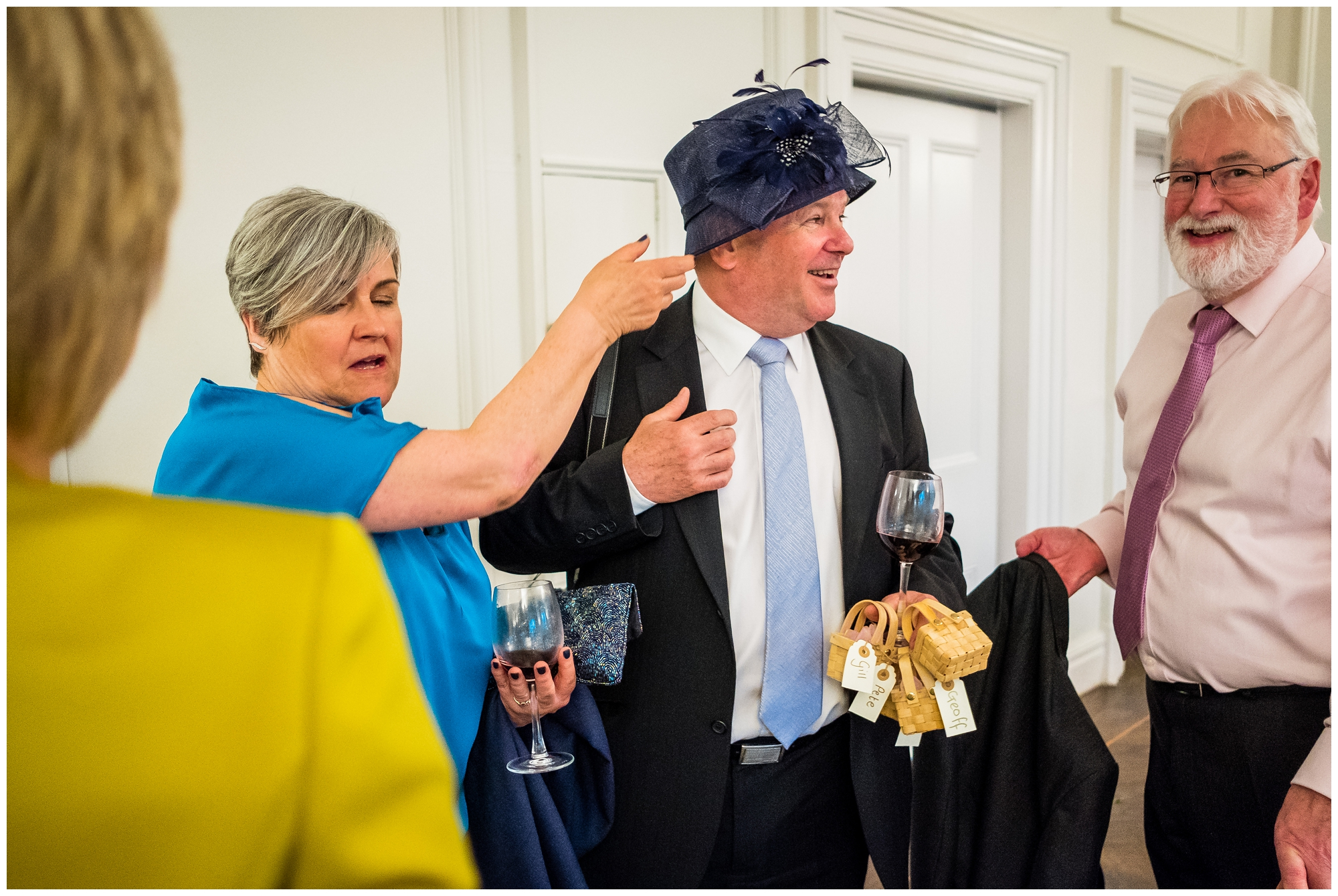 guests playing with hats