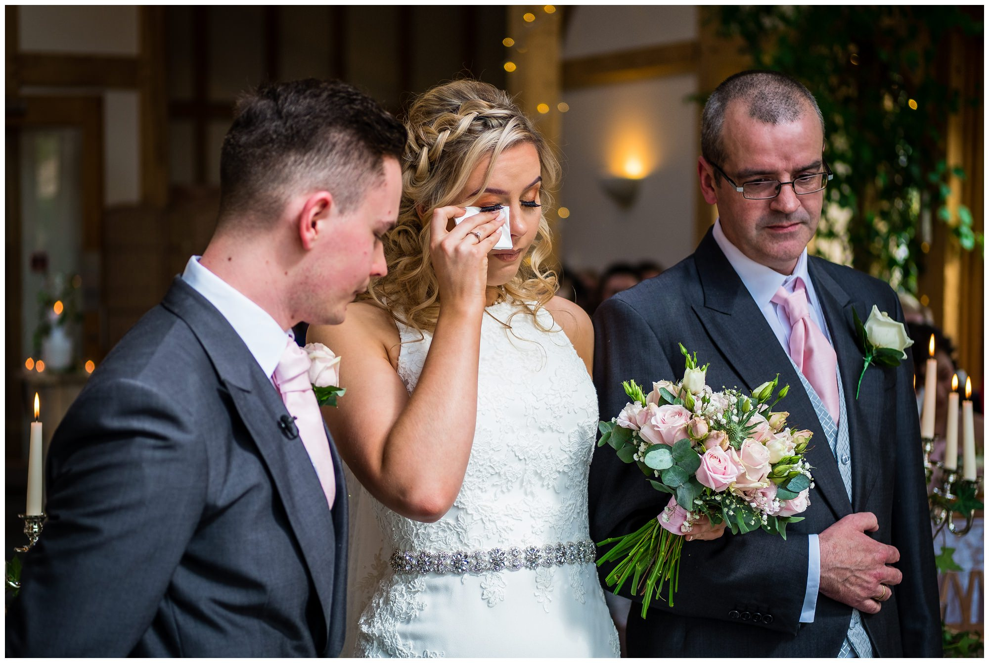 bride crying during service