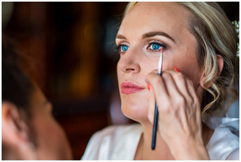 closeup of bridal makeup