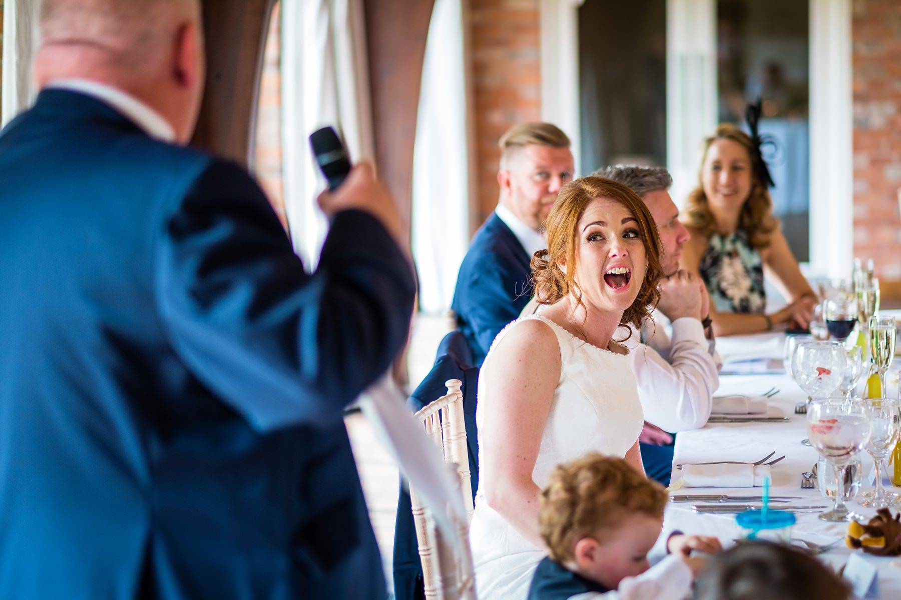 bride shocked during speeches