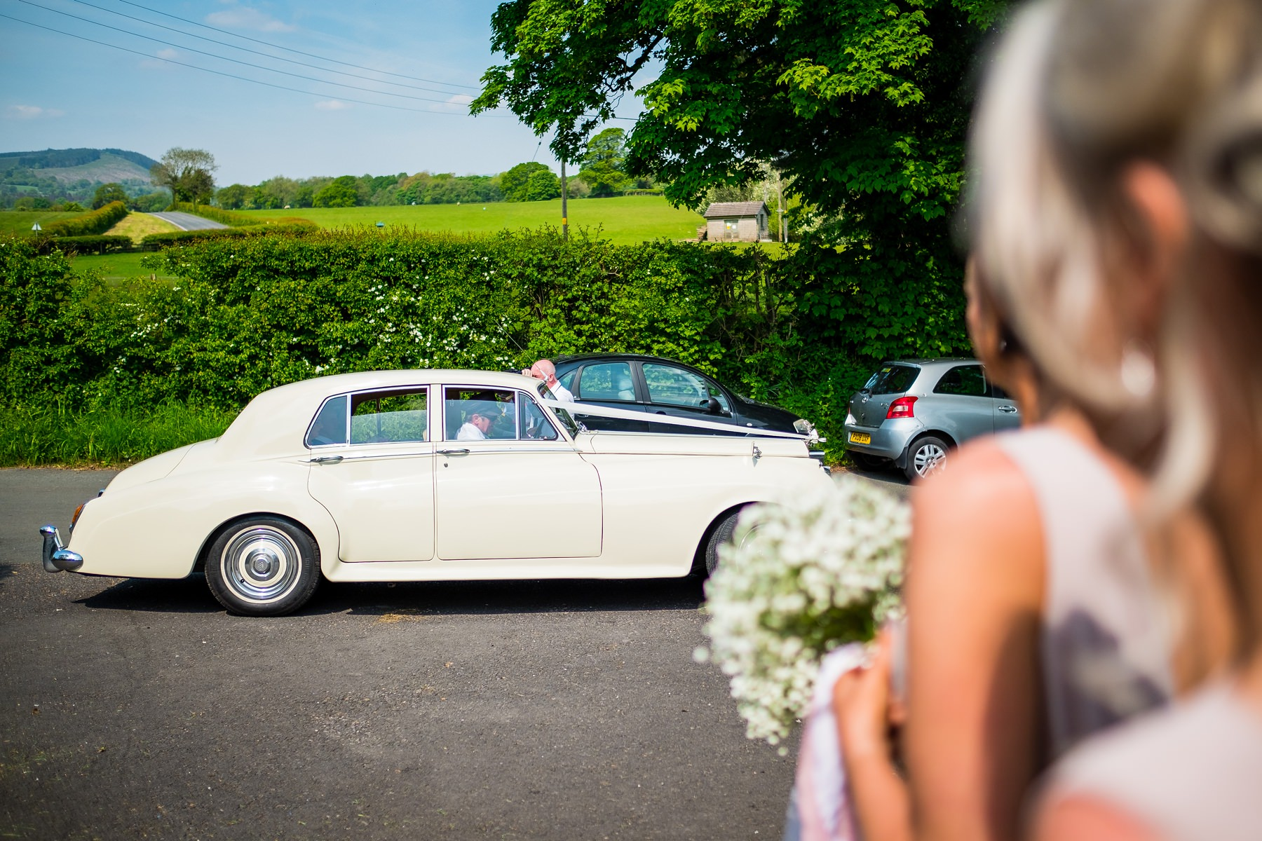 bride arrives to church in Lancashire