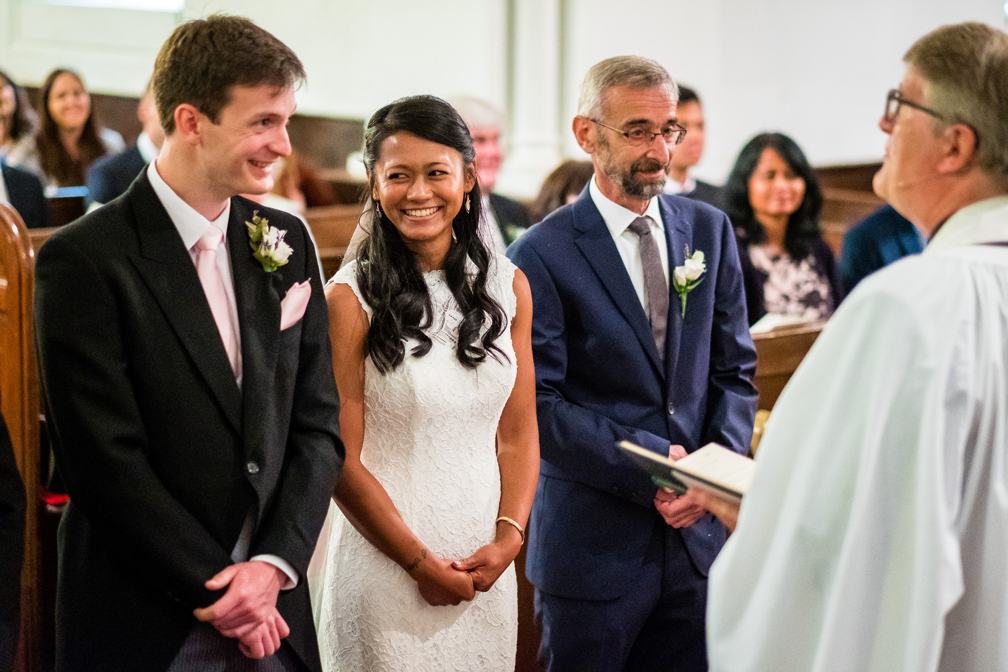 bride and groom during wedding service