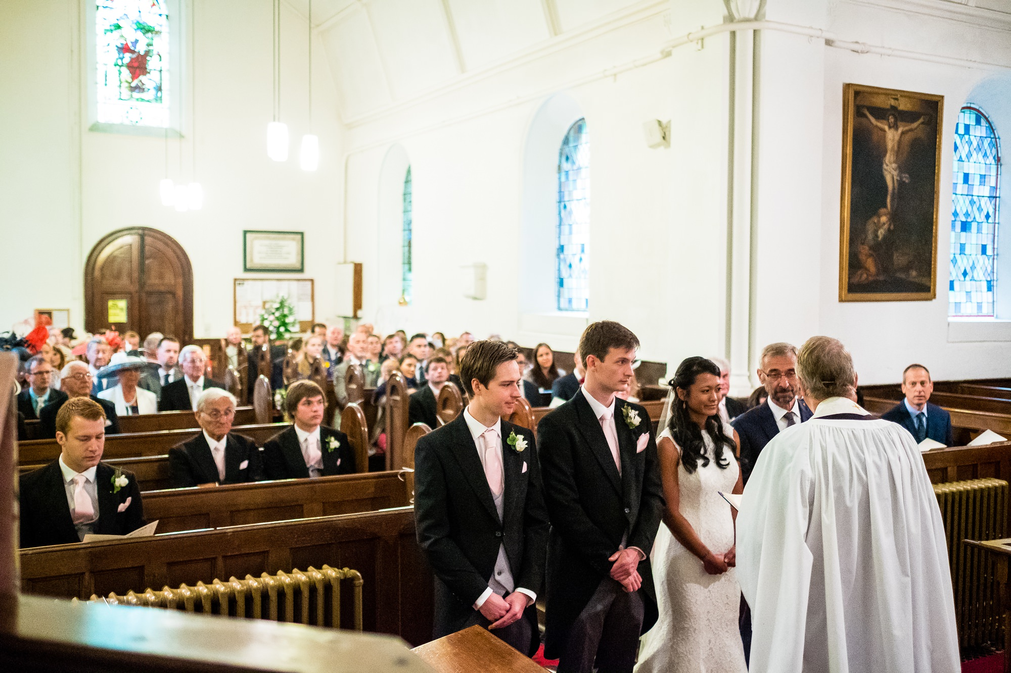 witnesses stood with bride and groom